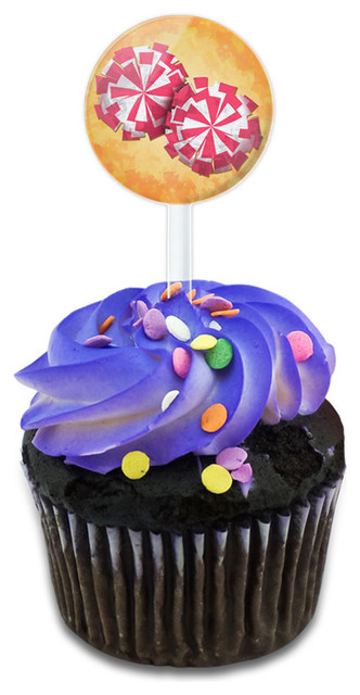Cheerleading Pom Poms Cupcake Toppers Picks Set.