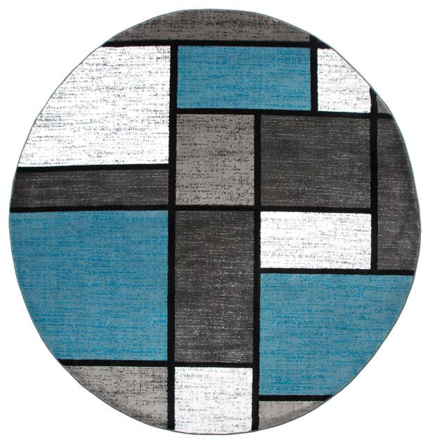Vandellas Geometric Round Rug, Blue, 6&x27;6x6&x27;6.