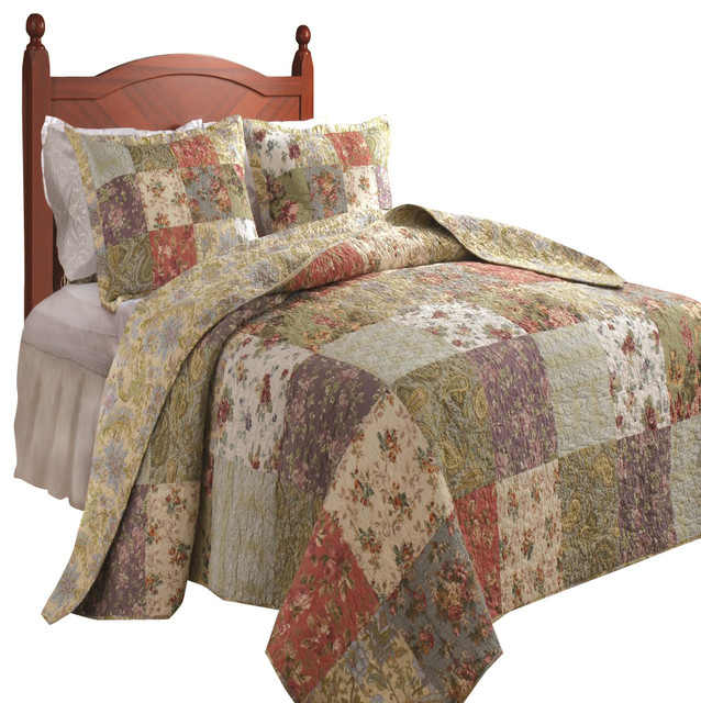 Greenland Home Blooming Prairie Bedspread Set, 3-Piece Full ... : quilt on bed - Adamdwight.com