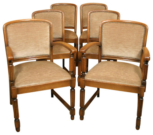 antique set 6 solid golden oak dining chairs with beige fabric traditional
