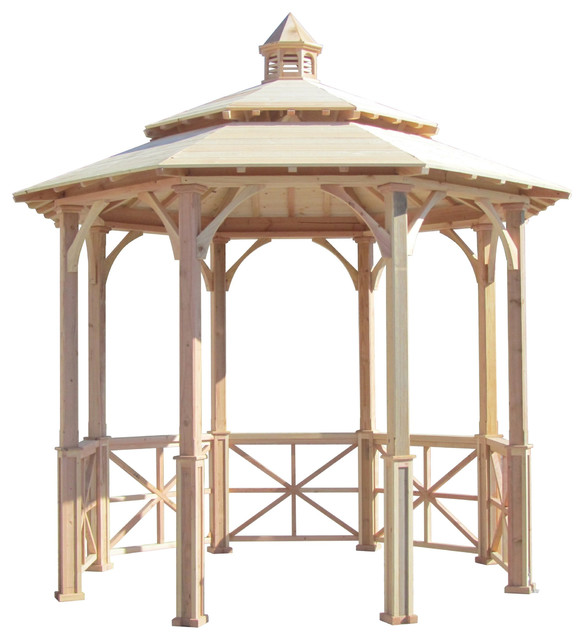 Samsgazebos 10&x27; Octagon English Cottage Garden Gazebo, Two-Tiered Roof, Cupola.