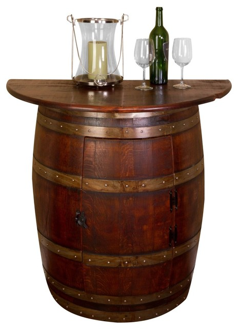 Half Barrel Wall Cabinet With Oak Top Rustic Wine And