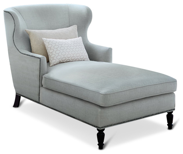 Nia Hollywood Regency Nickel Soft Sheen Blue Gray Velvet Chaise.