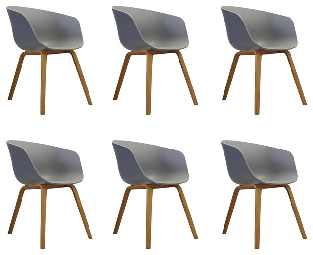 Danish Style Dining Arm Chair, Natural Legs, Black, Set of 6, Dove Grey