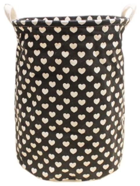 New British Style Foldable Large Laundry Basket, Hamper Storage, Black Love.