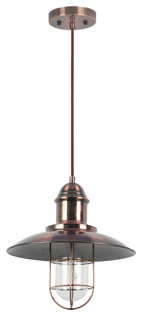 Pompei Copper Pendant Fixture Single Light