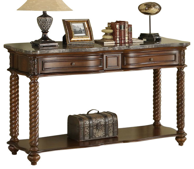 Homelegance Lockwood Rectangular Sofa Table With Marble Top
