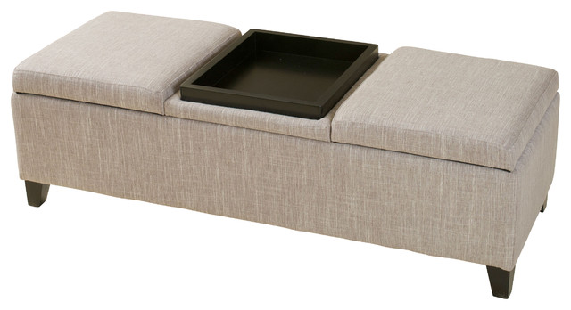 Fullerton Chamois Fabric Storage Ottoman Contemporary Accent And Benches