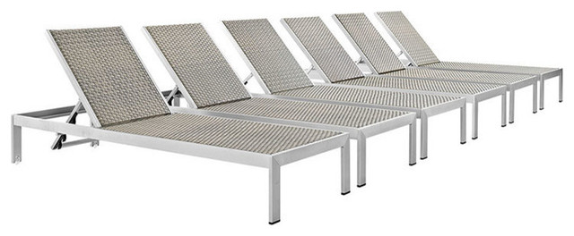Shore Outdoor Patio Aluminum Chaises, Silver/gray, Set Of 6.
