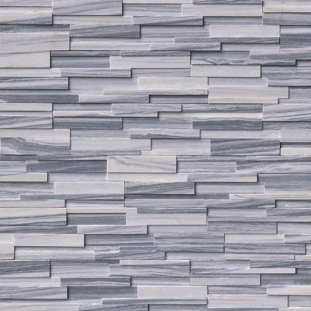 Alaska Gray 3d Honed Stacked Stone, 3d Honed, 6x24, Marble, Hardscape, 20 Sqft.