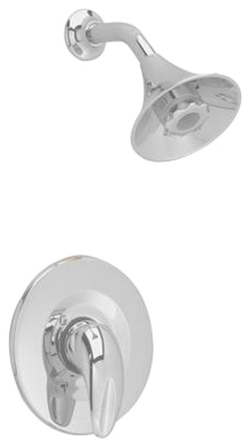 Satin Nickel Flange and Arm American Standard T038501.295 Tropic Shower Only Trim Kit with Showerhead