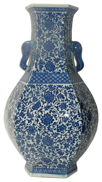 Chinese Blue And White Porcelain Hexagon Lotus Flower Vase