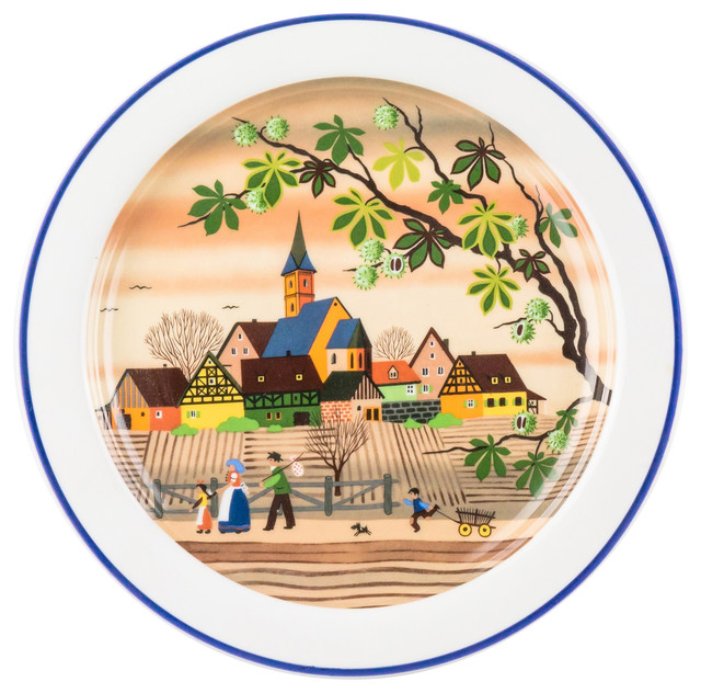 Gloria Porcelain Decorative Wall Plate With Bavarian Landscape Fall
