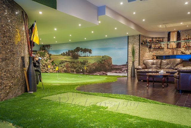Golf Simulator For Sale >> Golf Putting and Simulator Home Basement - Traditional - Toronto - by StalloneMedia