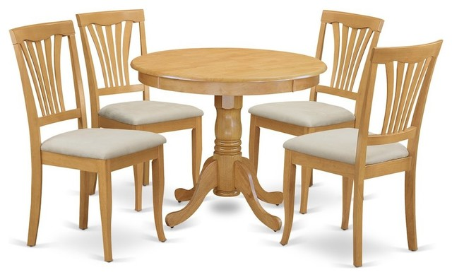 5-Piece Dinette Table Set, Kitchen Table and 4 Chairs, Oak Microfiber