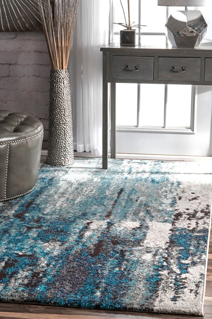 "Winter Abstract Area Rug, Blue, 6'7""x9'"