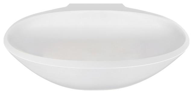 Aquatica Sensuality Mini-Wall Back To Wall Solid Surface Bathtub, White