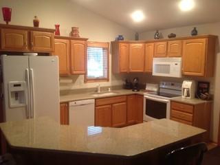 Kitchen cabinets- leave honey oak or paint white? Mocked ...
