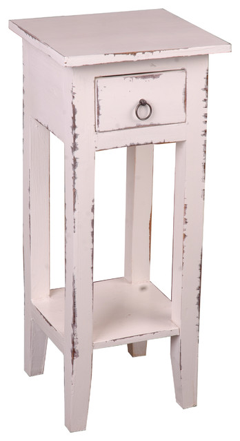 Sunset Trading Cottage Narrow Side Table, Light Distressed Whitewash  Farmhouse Side Tables
