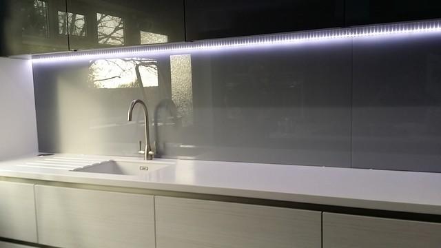 Silver Grey Glass Splashbacks Contemporary
