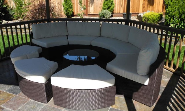 Captivating Round Outdoor Wicker Sectional Couch Set Contemporary Deck
