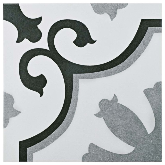 """12.38""""x12.38"""" Vienne Ceramic Floor And Wall Tile, Set Of 10."""