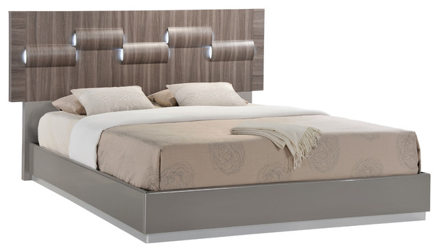 Global Furniture Adel Gray High Gloss And Zebra Wood Bed, Queen.
