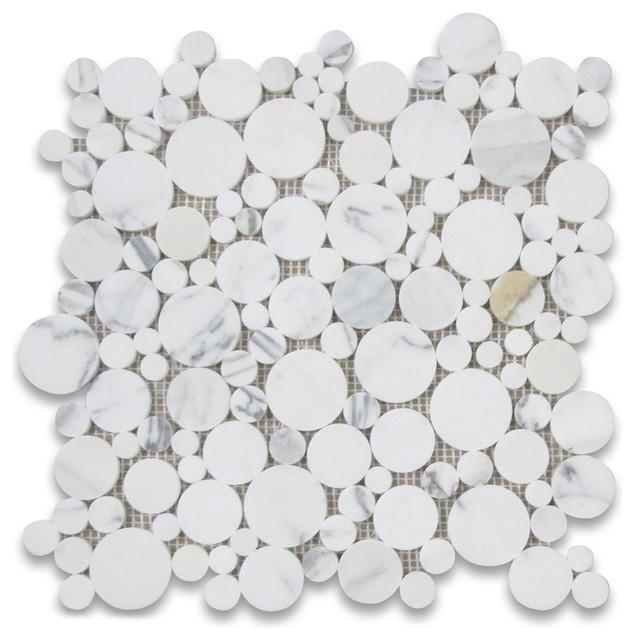 "12""x12"" Calacatta Gold Bubble Round Paramount Mosaic Tile Honed."