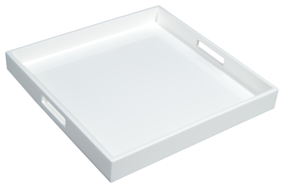 Lacquer Square Tray White Contemporary Serving Trays By Hudson Vine