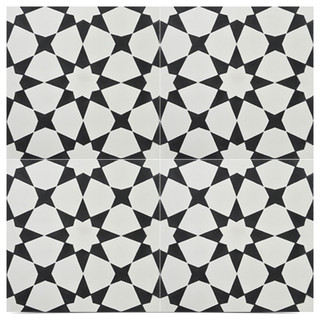 Medina Handmade Cement Tile Black Off White Sample