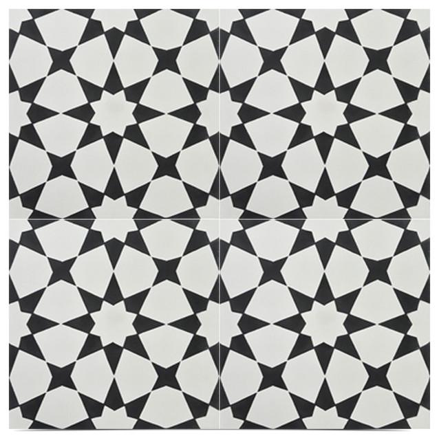 8x8 Atherton Handmade Tiles, Set Of 12, Black And White.