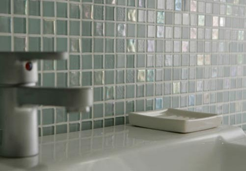 Gentil Dewdrops Recycled Glass Tile Modern Bathroom