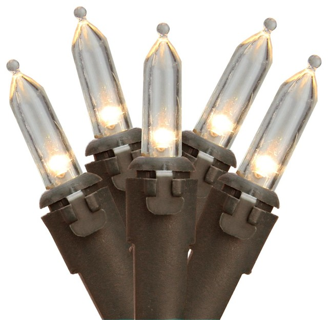 Set Of 35 Warm White Led Mini Christmas Lights 4 Spacing - Brown Wire.