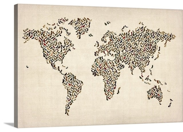 World map made up of shoes Wrapped Canvas Art Print, 36
