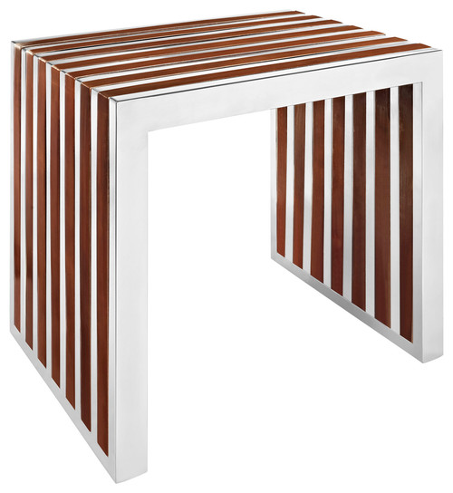 Modern Contemporary Wood Bench, Walnut Metal