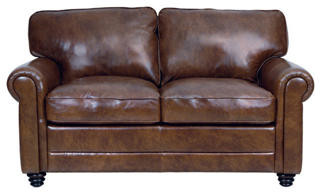 Amazing Genuine Italian Leather Loveseat In Havana Brown Caraccident5 Cool Chair Designs And Ideas Caraccident5Info