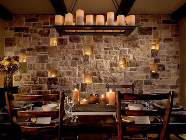 stone facade AutumnLeaf - Mediterranean - Dining Room - St Louis ...