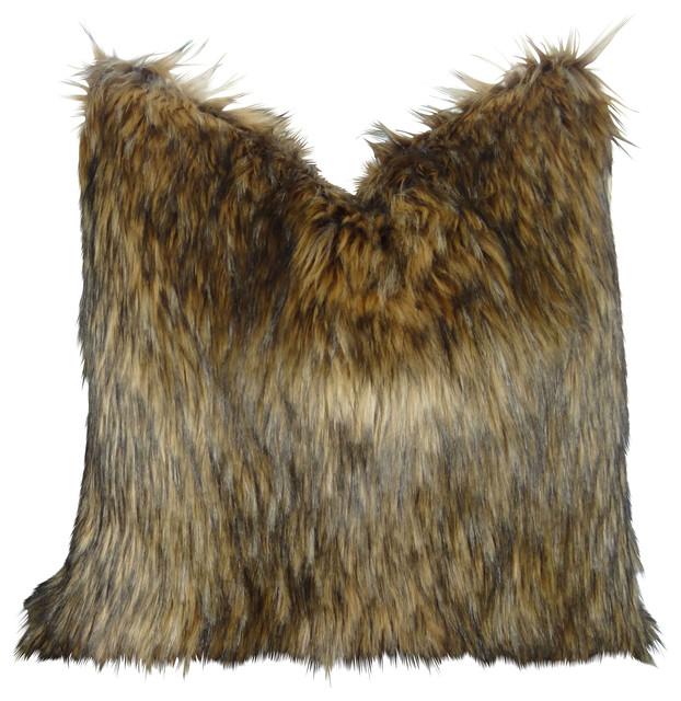 Brown Fur Throw Pillows : Thomas Collection - Thomas Collection Light & Dark Brown Beautiful Faux Fur Throw Pillow - View ...