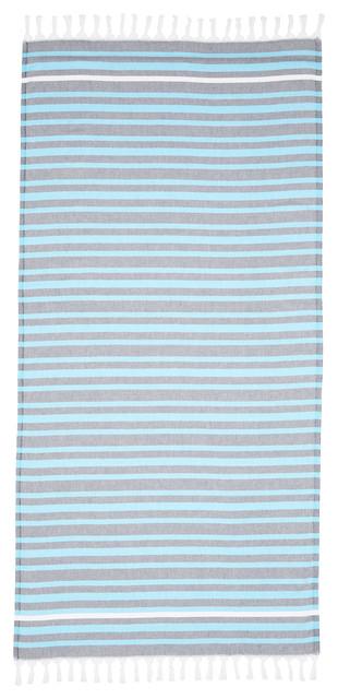 Linum Home Textiles Elegant Stripe Pestemal Beach Towels, Gray/multi.