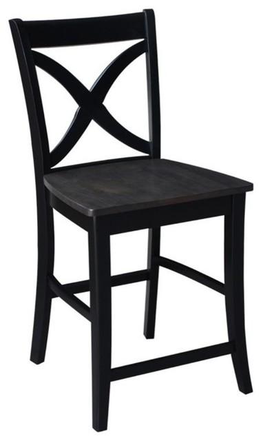 Marvelous International Concepts Cosmo 24 Cross Back Counter Stool In Coal Spiritservingveterans Wood Chair Design Ideas Spiritservingveteransorg