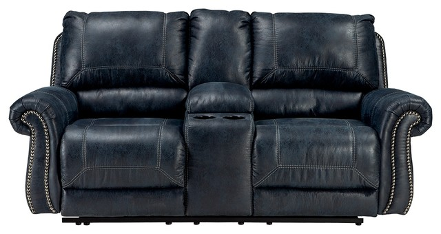 Ashley Double Recliner Power Loveseat With Console, Navy.