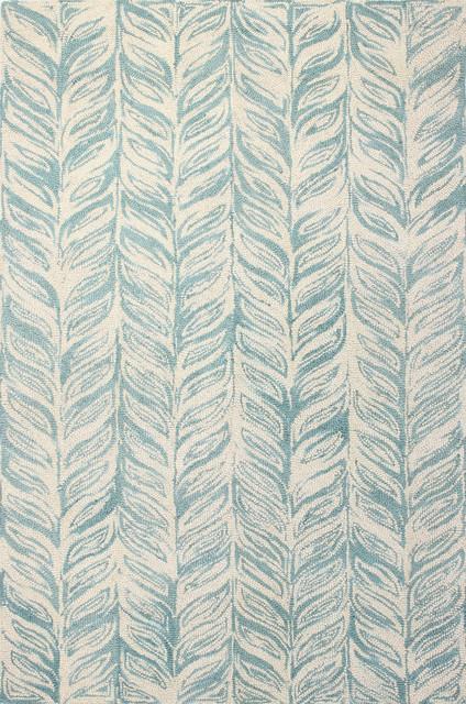 Bashian Duncan Area Rug, Ivory/aqua, 7&x27;x9&x27;.