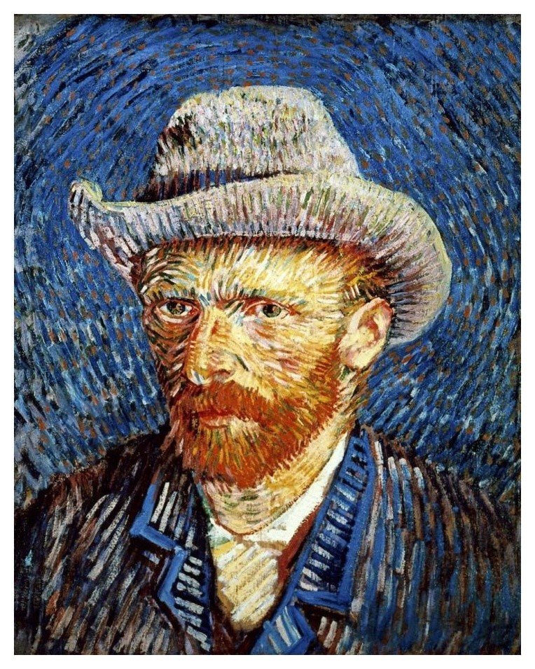 by Van Gogh Giclee Repro Print on Canvas 1 Self-portrait with a gray felt hat