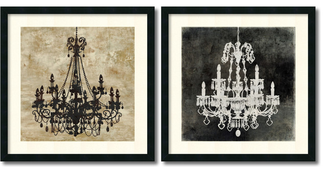oliver jeffries chandelier set of 2 framed art print 26 x26 each