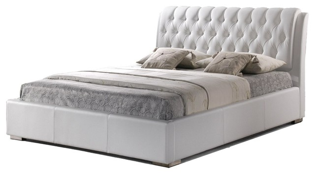 Bianca White Modern Bed With Tufted Headboard - King.