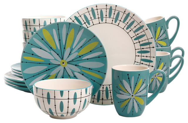 Studio California Luminescent Anza 16-Piece Dinnerware Set Teal  sc 1 st  Houzz & Studio California Luminescent Anza 16-Piece Dinnerware Set Teal ...