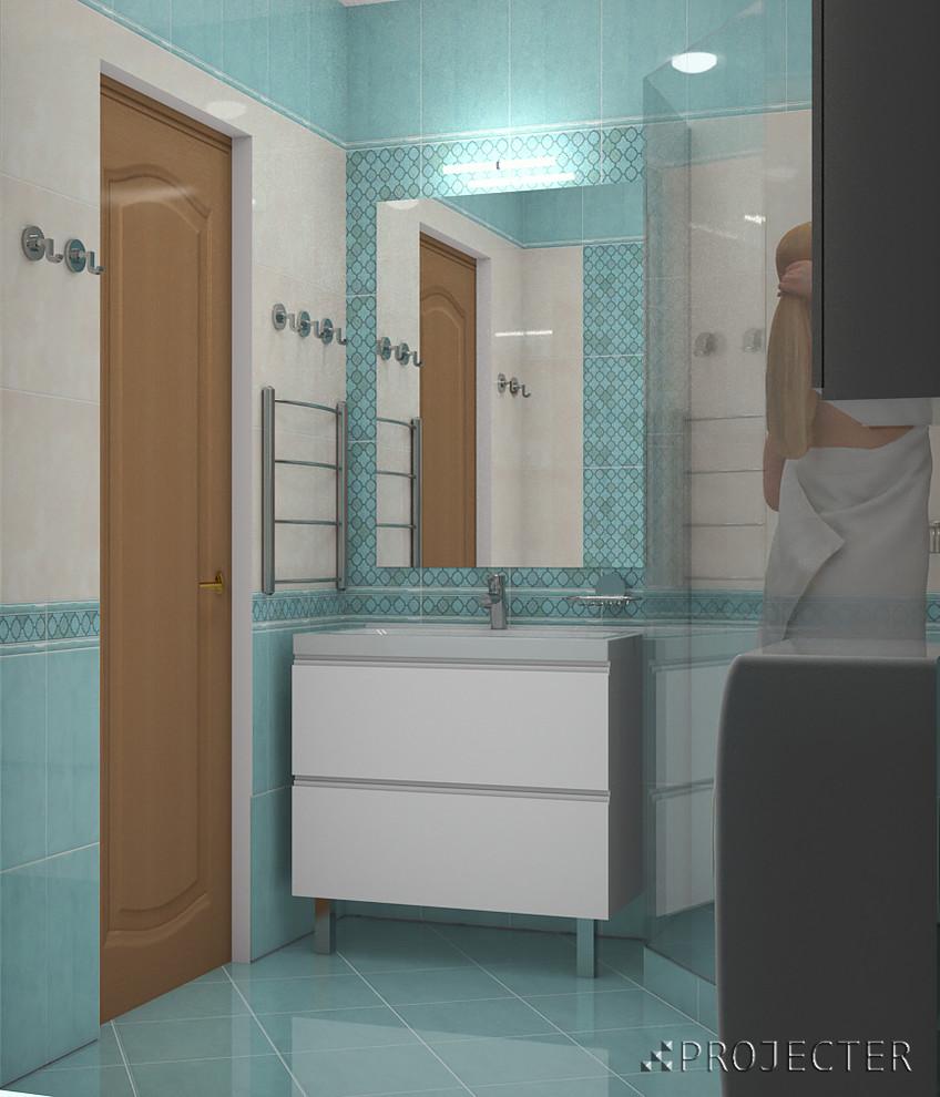 Дизайн-проект ванной комнаты в квартире, плитка Керама Марацци Фоскари, Москва