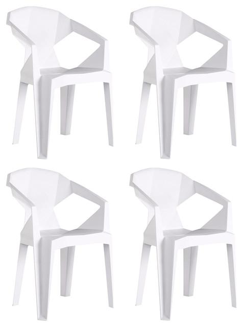 Verona Modern Plastic Chair, White, Set of 4