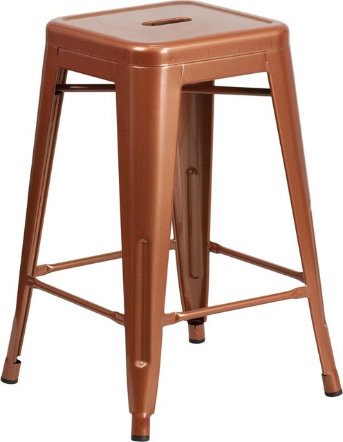 Brimmes 24 Metal Counter Stool Backless Distressed Black Stackable