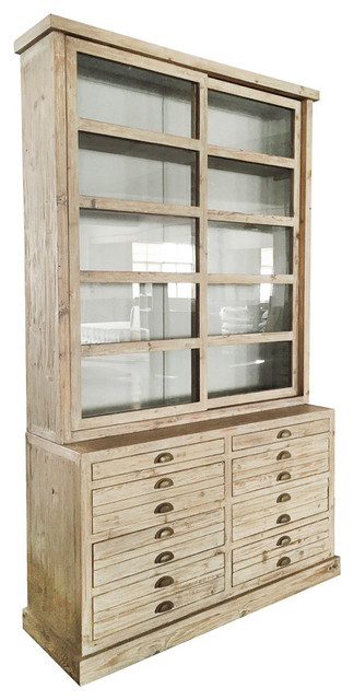 Alessa Gray Display Cabinet Hutch With Glass Sliding Doors, S78451d